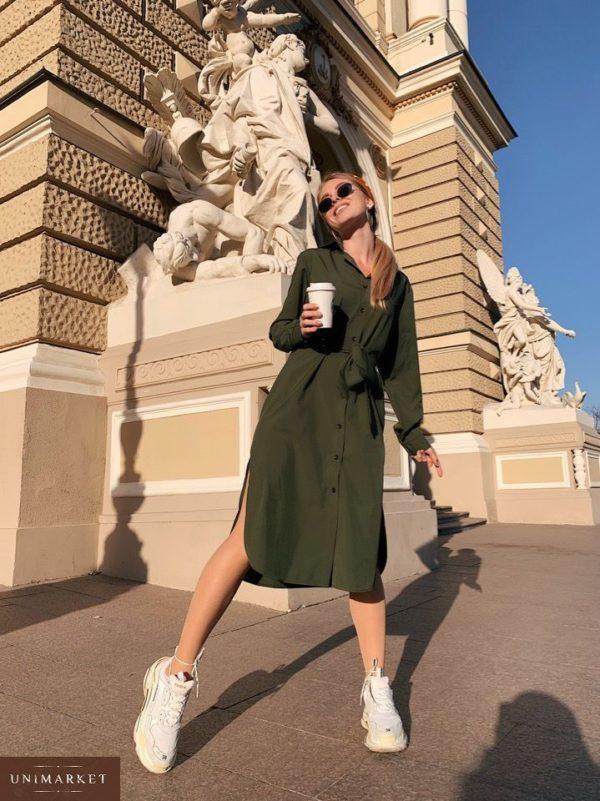 Купить недорого женское платье миди однотонное из софта с поясом и карманами большого размера цвета хаки