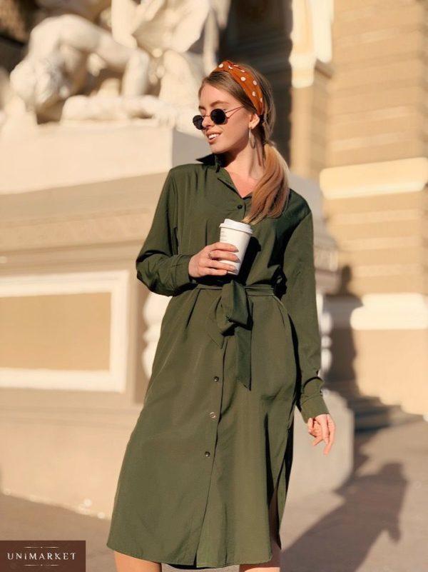 Заказать женское однотонное платье с поясом и карманами миди из софта большого размера цвета хаки недорого