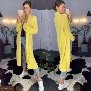 Заказать в подарок женский длинный вязаный кардиган из хлопка желтого цвета большого размера