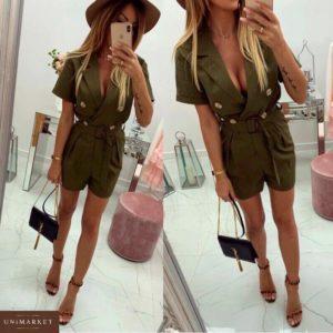 Приобрести дешево женский комбинезон - шорты с карманами из костюмки цвета хаки оптом Украина