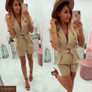 Купить в интернет-магазине женский комбинезон - шорты из костюмки с карманами кремового цвета недорого