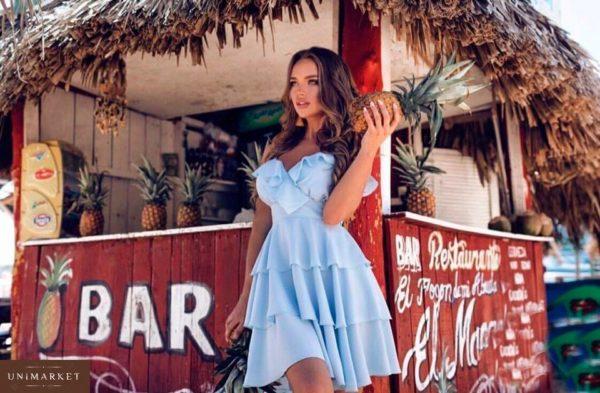 Заказать недорого платье женское голубого цвета из воздушного двойного шифона в подарок