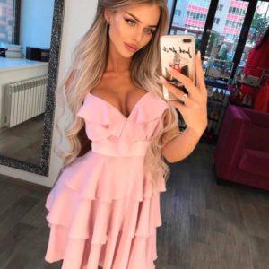Купить в интернет-магазине женское платье из воздушного двойного шифона розового цвета недорого