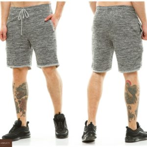 Купить в подарок трикотажные больших размеров шорты мужские серого цвета белого цвета дешево