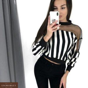 Купить в интернет-магазине женскую блузку из шифона с сеткой в полоску недорого