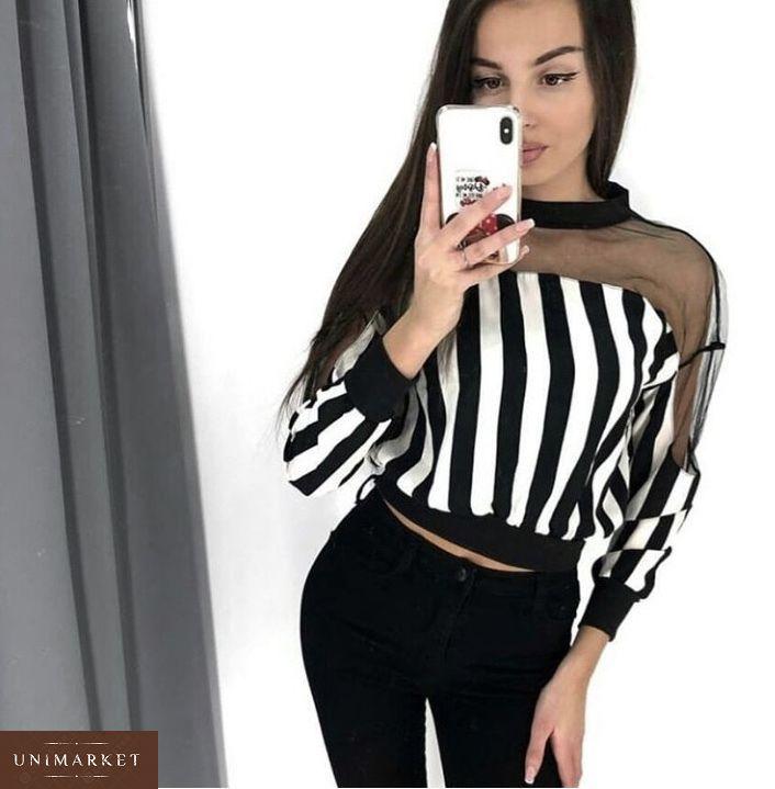 67052ccfd62 Купить в интернет-магазине женскую блузку из шифона с сеткой в полоску  недорого
