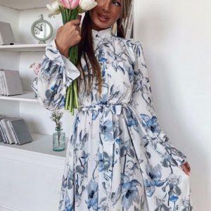 Купить в подарок женское платье длинное цветочное с поясом цвета цветов голубых дешево