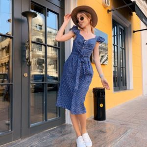 Приобрести дешево женское платье миди в горох из льна с поясом цвета джинсового оптом Украина