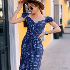Заказать недорого женское миди платье из льна в горох с поясом джинсового цвета в подарок