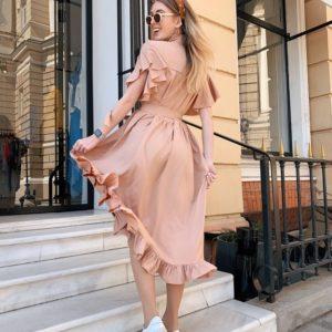 Приобрести дешево женское платье кроя широкого с крылышками и поясом цвета песка оптом Украина