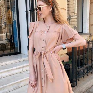 Заказать недорого женское платье широкого кроя с крылышками и поясом песочного цвета в подарок