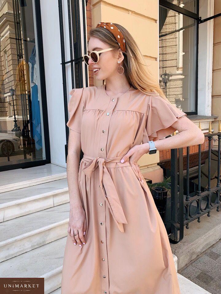 1e24e19c981484 Замовити недорого жіноче плаття широкого крою з крильцями і поясом  пісочного кольору в подарунок