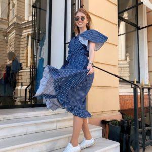 Приобрести дешево платье женское из льна широкого кроя с поясом в горошек цвета джинсового оптом Украина
