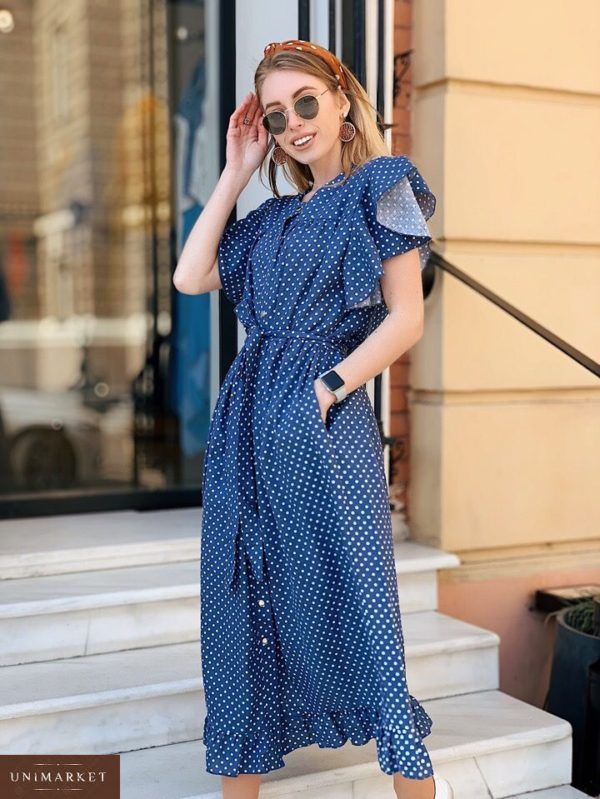 Заказать недорого женское платье широкого кроя из льна в горошек с поясом джинсового цвета в подарок