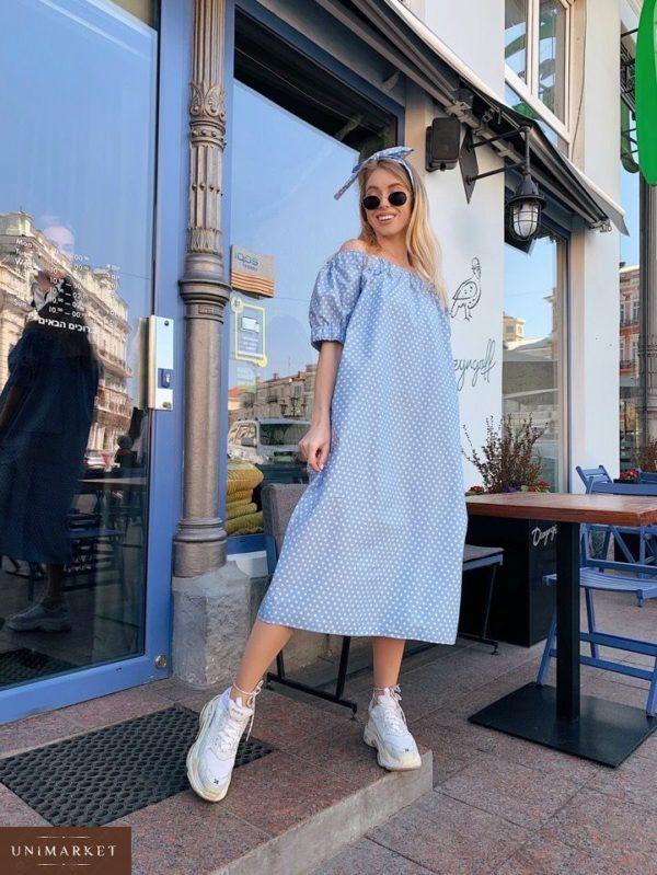 Заказать в интернет-магазине платье женское миди из коттона голубого цвета в горох недорого