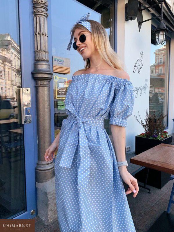Купить в подарок женское платье из коттона миди в горох цвета голубого дешево