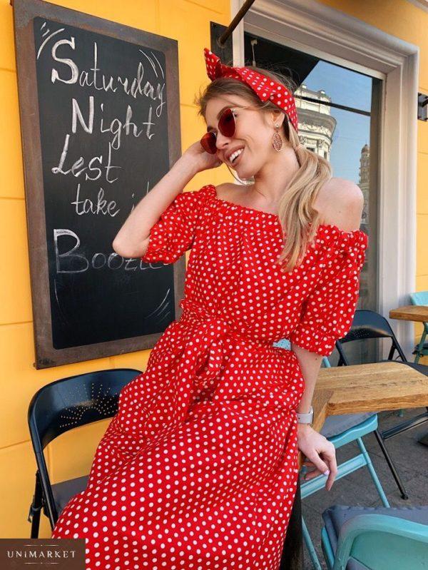 Приобрести дешево миди женское платье из коттона в горох цвета красного оптом Украина