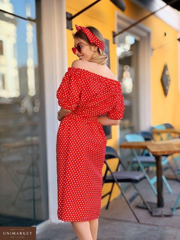 Заказать недорого женское платье миди из коттона в горох красного цвета в подарок