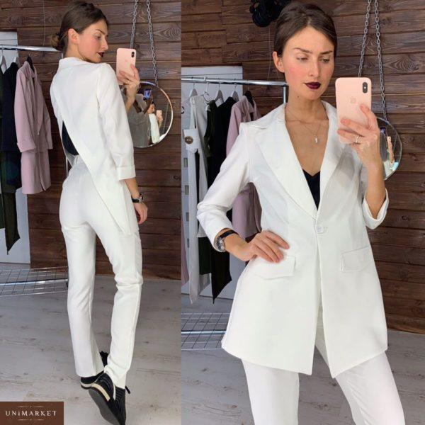 Заказать в подарок женский костюм: пиджак + брюки из костюмки с открытой спиной белого цвета недорого