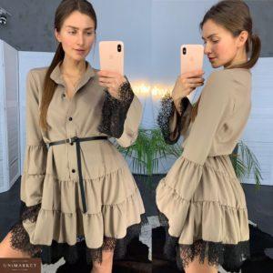Купить в подарок женское платье с кружевом и широкими рукавами цвета мокко дешево