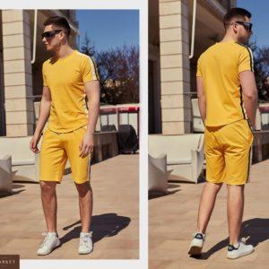 Приобрести дешево мужской трикотажный спортивный костюм больших размеров желтого цвета оптом Украина