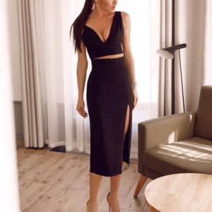 Приобрести дешево костюм женский юбка + топ с разрезом черного цвета оптом Украина