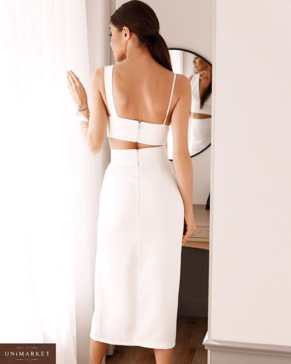 Заказать недорого женский костюм топ + юбка с разрезом в подарок белого цвета