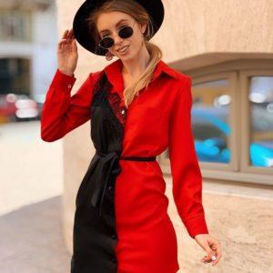 Купить в интернет-магазине женское платье - из креп-костюмки рубашку с поясом красного цвета недорого