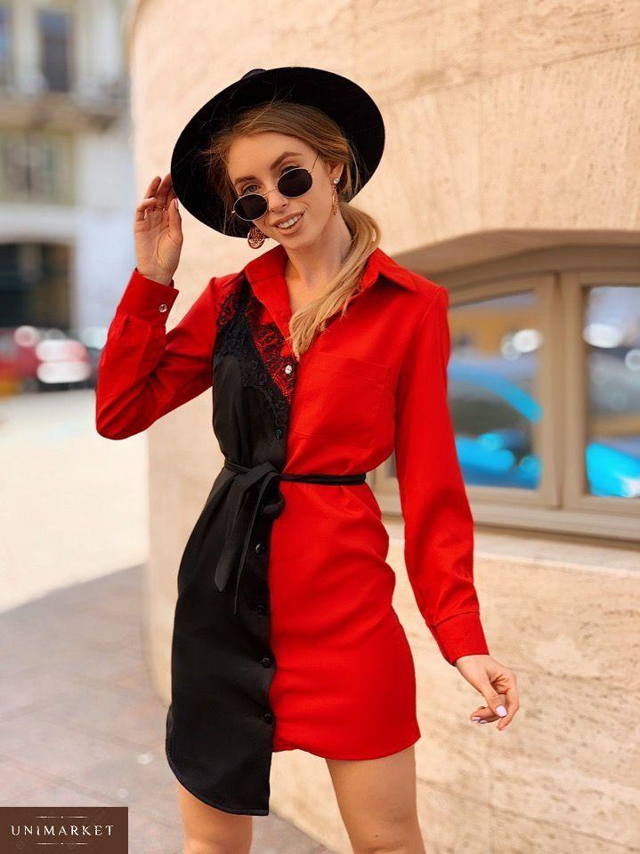 a5df083f93a76cc Купить в интернет-магазине женское платье - из креп-костюмки рубашку с  поясом красного