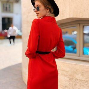 Заказать недорого женское платье - рубашка из креп-костюмки в подарок с поясом красного цвета