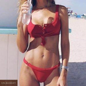 Приобрести дешево купальник женский раздельный на подкладке с чашками красного цвета оптом Украина