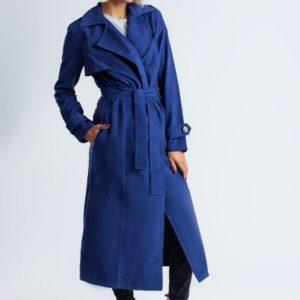 Приобрести женский удлиненный тренч цвета синего большого размера оптом Украина