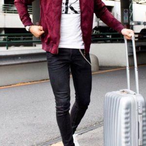Купить в подарок мужскую с подкладкой замшевую куртку больших размеров бордового цвета дешево