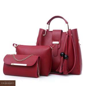 Приобрести в подарок сумку женскую 3 в 1 из эко кожи бордового цвета оптом Украина
