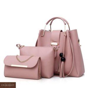Купить в интернет-магазине женскую сумку 3 в 1 розового цвета из эко кожи недорого