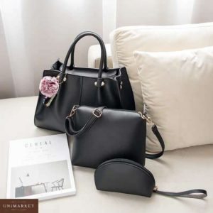 Купить дешево женскую сумку + сумка клатч 3 в 1 черного цвета недорого