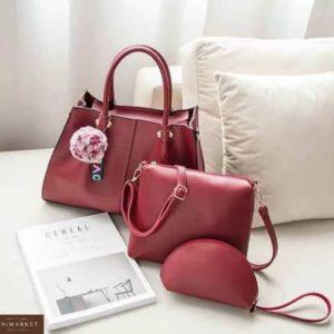 Приобрести в подарок сумку женскую + клатч сумка 3 в 1 бордового цвета оптом Украина