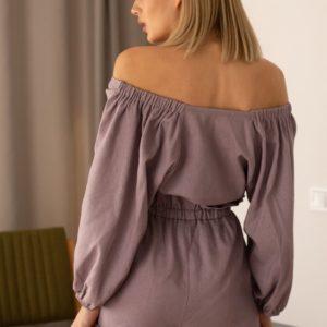 Купить недорого женский костюм с высокой посадкой: топ и шорты из льна розово-коричневого цвета в подарок