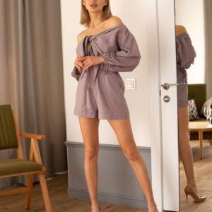 Приобрести в интернет-магазине женский костюм: шорты и топ из льна с высокой посадкой розово-коричневого цвета дешево
