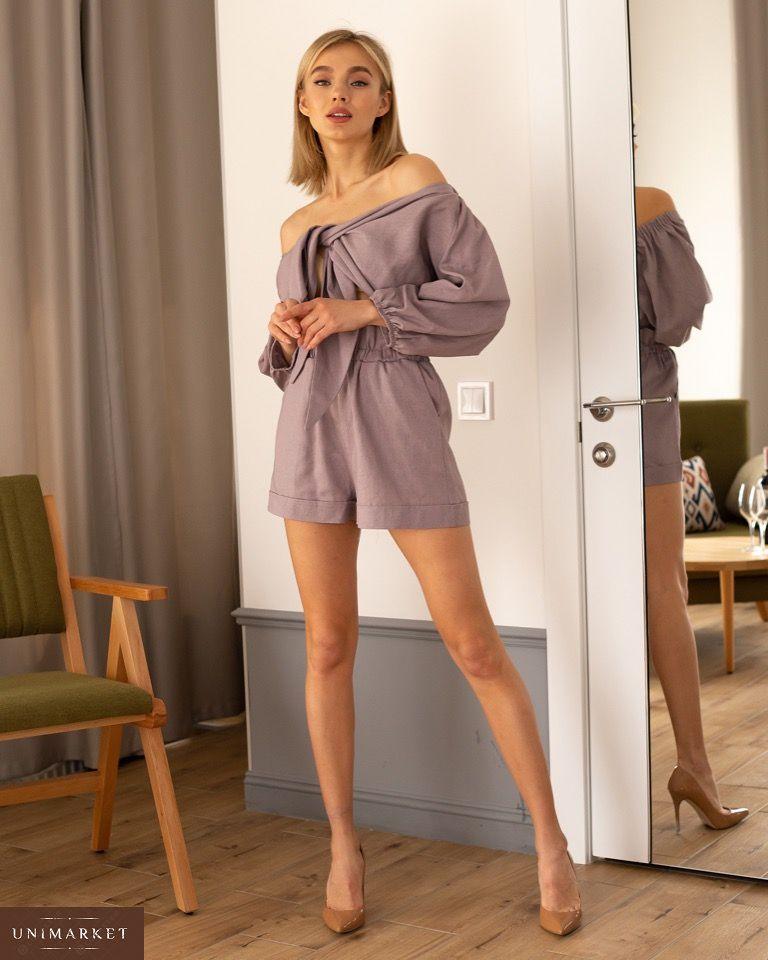 6ed7641ce207d89 Приобрести в интернет-магазине женский костюм: шорты и топ из льна с  высокой посадкой