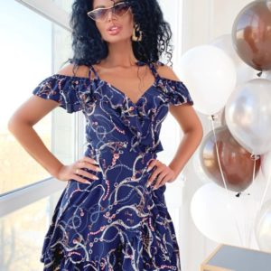Заказать недорого женское платье на запах с воланами по плечах и регулируемыми завязками темно-синего цвета в подарок
