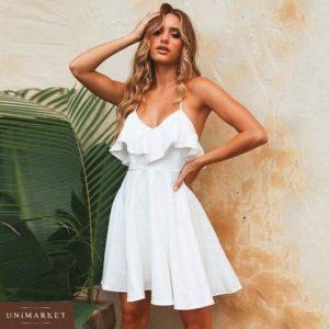Купить в подарок платье женское на лямках цвета белого из софта дешево