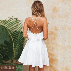 Приобрести дешево женское платье из софта на лямках белого цвета оптом Украина