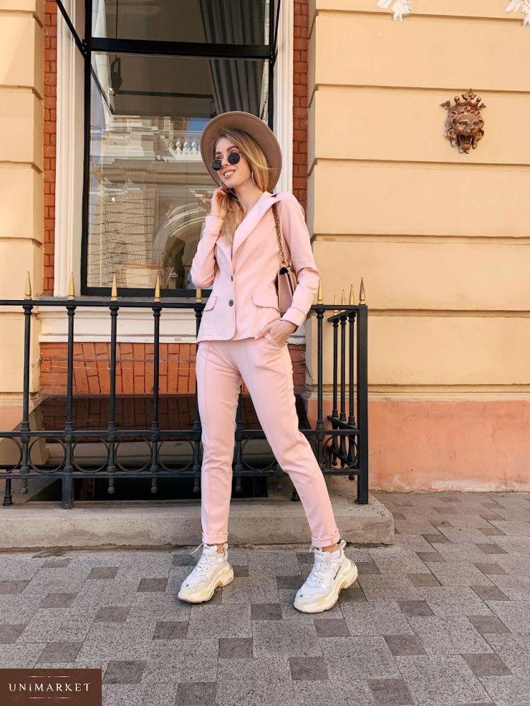 28f401b0b60 Приобрести в интернет-магазине костюм женский из джерси трикотажа цвета  пудры дешево