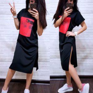 Заказать недорого женское платье из креп-дайвинга с разрезами по бокам больших размеров черного цвета в подарок