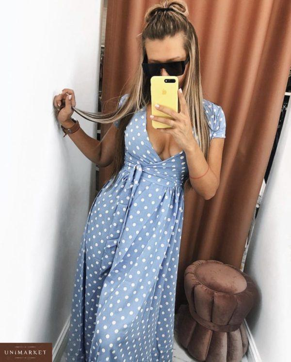 Заказать дешево длинное женское платье в горошек на запах голубого цвета недорого
