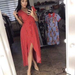 Приобрести в интернет-магазине женское платье длинное на запах в горошек красного цвета дешево