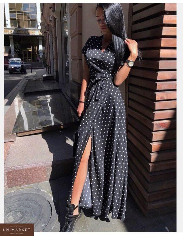 Заказать в подарок женское длинное платье на запах в горошек черного цвета недорого