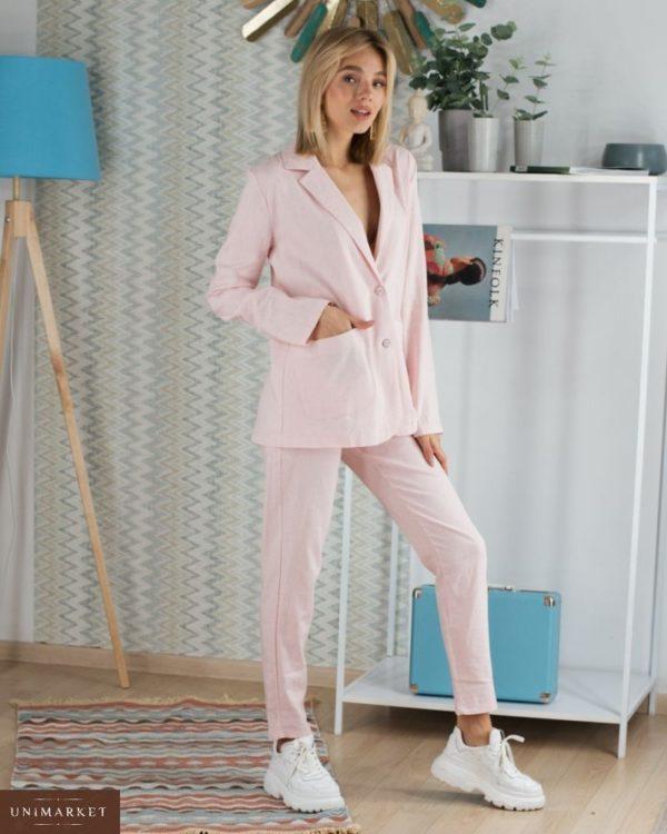 Приобрести женский костюм брючный на пуговицах из льна розового цвета недорого больших размеров