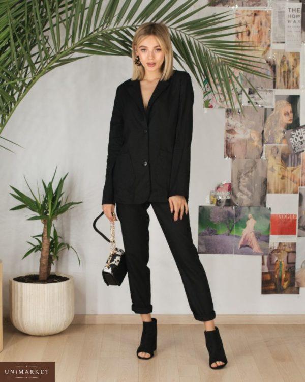 Заказать в интернет-магазине женский брючный костюм из льна на пуговицах черного цвета дешево больших размеров